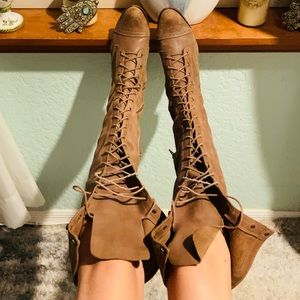 JEFFREY CAMPBELL Leather Lace Up Joe Boot 9 Brown